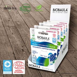 Ekologiškų vonios, grindų ir stiklo valymo tablečių rinkinys (išbandymui) Biobaula